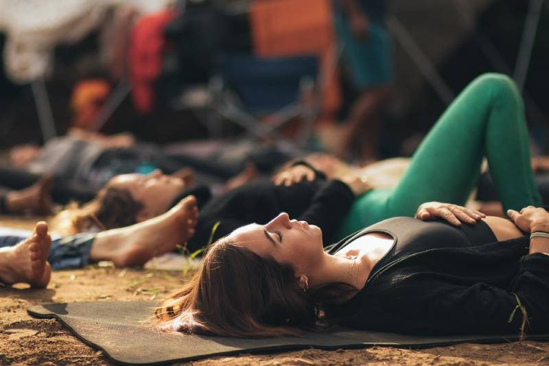 woman in a relaxation class